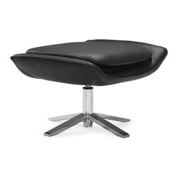 Zuo Modern - Vital Ottoman Black - Easily relax with the Vital lounge chair and ottoman. Plush foam seat, leatherette body, and a solid stainless steel base. Prop up those tired dogs and relax in style.