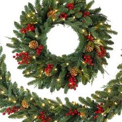 Classic Holiday Christmas Wreath - A FESTIVE AMBIANCE WITH THE CLASSIC HOLIDAY CHRISTMAS WREATH
