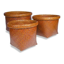 Foreign Affairs Home Decor - Tembaga Square Baskets - Set - Square open basket set with stylish rim. Can be nestled into each other. 18 in. L x 18 in. W x 20 in. H (10 lbs)