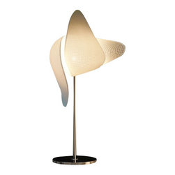 """MGX Lighting - MGX Lighting Gamete.Mgx Metal Base Table lamp - The Gemete.Mgx metal base table lamp     has been designed by Xavier Lust for      Materialise. Inspirated by  tree seeds blown in the world the gamete.mgx table lamp contains an  elegance envelope which protects our eyes from the light. The gemete.mgx  table lamp is currebtly available in three different format and will  soon be lounched in ceiling and floor versions. Product description:  The Gemete.Mgx metal base table lamp     has been designed by Xavier Lust for      Materialise. Inspirated by  tree seeds blown in the world the gamete.mgx table lamp contains an  elegance envelope which protects our eyes from the light. The gemete.mgx  table lamp is currebtly available in three different format and will  soon be lounched in ceiling and floor versions.  Details:                                      Manufacturer:                          MGX                                                     Design:                                     Xavier Lust                                                     Made in:                                     Belgium                                                                  Dimensions:                                      Small:Height Overall: 20.47"""" (52 cm),Shade:Height:9.06"""" (23 cm) X Width: 5.12"""" (13 cm)             Large:Height Overall: 27.56"""" (70 cm),Shade:Height: 13"""" (33  cm) X Width: 5.12"""" (13 cm)                                                     Light bulb:                                      1 x 40W G9 Halogen                                                                  Material:                                      Polyamide"""