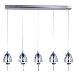 ET2 - ET2 E24355-81 5 Light Adjustable Height Pendant Chute Collection - Bulb - ET2 E24355-81 Chute 5 Light Adjustable Height PendantA fine piece of lighting art, this 5 light pendant features a blown glass dome with brilliant matching glass, beautiful ornaments, and beveled crystal finials. With its adjustable cables, it is sure to grace any room it is installed in.Chute collection's blown glass domes, available in Matte White or Mirror Chrome, suspend in the air by adjustable cables. Highlighted by the light are matching glass ornaments and beveled crystal finials. Unique canopies and hardware of Polished Chrome add to the eclectic nature of this design.ET2 E24355-81 Features: