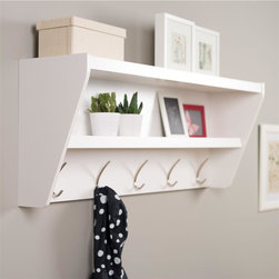 Prepac - Floating Entryway Shelf and Coat Rack in Whit - Finished in durable pure white laminate. Features 5 Solid Metal Hooks. Easy to install two-piece hanging rail system and mounting hardware included. Constructed from CARB-compliant, laminated composite woods . Ships Ready to Assemble, includes an instruction booklet for easy assembly and has a 5-year manufacturer's limited warranty on parts. Proudly Manufactured in Canada. 48.5 in. W x 11.75 in. D x 19.25 in. H Outfit your foyer with a smart and stylish storage solution, ready for anything your family can throw at it.  This modern shelf features 5 solid metal hooks that provide a perfect perch for coats, hats, and other entryway essentials.  Open design shelves provide a handy spot to drop your keys, purse, wallet or to display decorative items. This product ships Ready To Assemble and includes an easy to follow instruction booklet. Our innovative hanging rail system includes all mounting hardware which makes installing at any height a breeze.  Proudly manufactured in Canada using composite woods and finished with durable laminates.