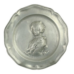 EuroLux Home - Consigned Vintage French Pewter Plate Charger Marie - Product Details