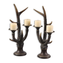 Uttermost - Stag Horn Candleholder, Set/2 - Burnished, Bone Ivory Finish With Mahogany And Golden Bronze Accents. Distressed Beige Candles Included.