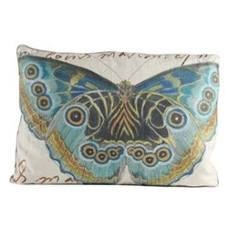 Blue & Gold Butterfly Pillow - Spring and Summer are almost here.  Start your spring decorating early with this beautiful butterfly pillow.  Lovely details and color will soon make this pillow one of your favorites.