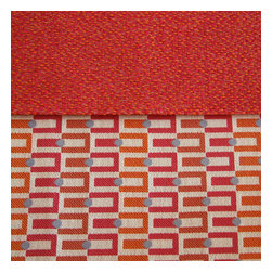 Grey House Linens - The Amanda Collection Tablecloth, Extra Large - A border of rich pink and orange with aqua polka dots on a neutral ground, balance a stunning field of deep rose and orange textural solid. This vibrant palette provides a gorgeous backdrop for a range of table settings for any occasion. Nothing short of chic table couture!