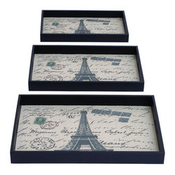 Benzara - Paris Themed Tray Set With Fabric - A beautifully made set for any modern home with simplicity and elegance to fit just about anywhere. The soft fabric inside is printed with the Eiffel Tower and postcard messages, creating that attractive Paris look. Made just for your contemporary home, they look great serving a small snack on the couch or placed around a dining room table.