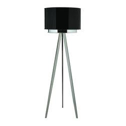 Joshua Marshal - Three Light Brushed Nickel Smoke Shade Two Tier Shade Floor Lamp - Three Light Brushed Nickel Smoke Shade Two Tier Shade Floor Lamp