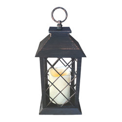 """Avion Innovative Products - A Traditional Style Indoor/Outdoor Lantern with Flameless Candle and Timer - Decorate your favorite room or dining table centerpiece with our new antique black candle lantern with copper accents. This vintage inspired lantern includes a 5"""" flameless candle with a melted edge. Made of weather-resistant resin it can be used indoors or outdoors. Features an on/off switch and timer that will stay on 6 hours, turns off and then back on the next day at the same time if you like. The candle is flame free and safe while enjoying the glow of amber flickering candlelight. Measures 6""""W x 11""""H plus the hanging loop. Requires two high grade C Batteries and has a long battery life of ±360 hours of candlelight."""