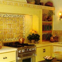 Craftsman Style - Pratt and Larson's Vintage Illustration tile in C204 with 1x1 mosaic border