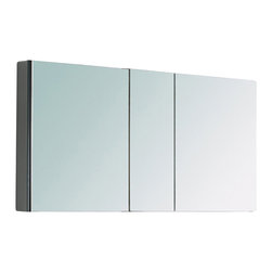 """Fresca - Three Mirrored Door Medicine Cabinet - This 50"""" medicine cabinet features mirrors everywhere.  The edges have mirrors and also on the interior of the medicine cabinet.  The inside features four tempered glass shelves.  Can be wall mounted or recessed into the wall. Dimensions: 49""""W X 26""""H X 5""""D; Features: 4 Glass Shelves; 3 Mirrored Doors; Recessed Mounting Option; Finish: Mirror; Material: ; Hardware: Chrome; Assembly: Fully Assembled"""