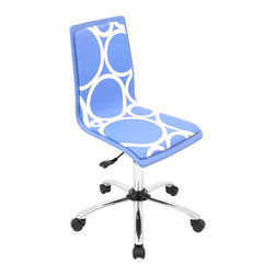 "Lumisource - Printed Office Chair, Blue Circles - 23"" L x 23"" W x 34 - 38.5"" H"