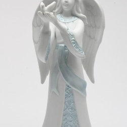 Apple Tree - 7 1/8 Inch White Angel Holding Doves Figurine with Blue Details - This gorgeous 7 1/8 Inch White Angel Holding Doves Figurine with Blue Details has the finest details and highest quality you will find anywhere! 7 1/8 Inch White Angel Holding Doves Figurine with Blue Details is truly remarkable.