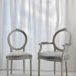 """Cyrus Company US - """"OVALINA""""  chair: white glossy carved wood synthetic leather"""
