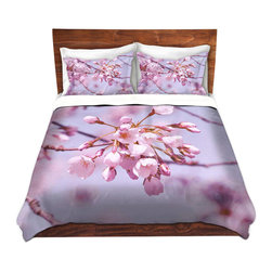 DiaNoche Designs - Duvet Cover Microfiber by Iris Lehnhardt - Vintage Spring Lilac Pink - Super lightweight and extremely soft Premium Microfiber Duvet Cover in sizes Twin, Queen, King.  This duvet is designed to wash upon arrival for maximum softness.   Each duvet starts by looming the fabric and cutting to the size ordered.  The Image is printed and your Duvet Cover is meticulously sewn together with ties in each corner and a hidden zip closure.  All in the USA!!  Poly top with a Cotton Poly underside.  Dye Sublimation printing permanently adheres the ink to the material for long life and durability. Printed top, cream colored bottom, Machine Washable, Product may vary slightly from image.