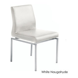 Nuevo Living - Aldo Dining Chair, Set of 2, White Naugahyde - Like apple pie à la mode, this set of two contemporary chairs mix the perfect blend of cool and comfort. The industrial-style steel frame brings in contemporary flavors, while the thickly padded leather or Naugahyde seat and arched back gets your family and friends looking forward to sit-down dinners.