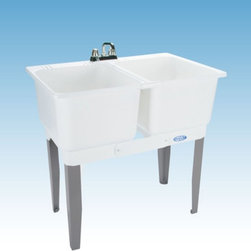 Mustee - Mustee 22C Double Basin Floor Mount Utility Sink Combo - 22C - Shop for Commercial Laundry and Utility from Hayneedle.com! The Mustee 22C Double Basin Floor Mount Utility Sink Combo is perfect for handwashing soaking dyeing bleaching and more. Two 13-inch deep 15-gallon capacity tubs joined by a divider strip and featuring heavy-gauge steel legs. The tubs are made from a mold- and mildew-resistant thermoplastic resin and features an integrated leak-proof drain (with stopper). The tub comes with all the necessary hardware to mount and install. Unit is fitted for a 4-inch diameter faucet (not included).About Trumbull IndustriesFounded in 1922 as a single branch plumbing supply house Trumball Industries has evolved over the years in to a privately held corporation and full-line distributor with specialized divisions. With 6 branch locations Trumball Industries has several divisions: an Industrial Division that provides products and services to industrial manufacturers a Home Center Division that offers expertise in all major kitchen and bath products a Municipal Division that offers a full line of water and sewer products and a Master Distribution Center with 500 000 square feet housing over 80 000 products. Aside from providing quality services to their customers the people at Trumbull Industries are happy provide a tour of any of their facilities as well as assist you with any design layout or purchasing decisions.