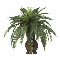 Nearly Natural - Boston Fern w Urn Silk Plant - A flowing spectacle of greenery. Will stand out in ay room or office. Leaves drape in a multi-layered display. Construction Material: Polyester material, Iron wire, Wood & PVC Leather. 27 in. W x 27 in. D x 28 in. H ( 3 lbs. ). Pot Size: 6.5 in. W x 12.5 in.HA flowing spectacle of greenery, this is one plant that will stand out in any room in your house (or office, so we aren't too picky with location).  The long leaves of this Boston Fern seem to drape each other in a multi-layered display, all tied together in a beautiful urn. It seems like it would take a lot of care and maintenance, but in reality, there's nothing for you to do except find the perfect location (or perfect person to give it to).
