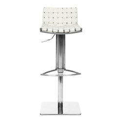 Safavieh - Mitchell Gas Lift Barstool - The Mitchell Gas Lift Barstool offers stylish comfortable seating that adjusts with the flip of a lever. Its sturdy square base, sleek pedestal and footrest in stainless steel are contrasted seats and backs in basket-woven strips of white bonded-leather. With clean, contemporary styling and a seat that can be positioned from 21.7 to 31.7, Mitchell is perfect for transitional and modern interiors. Assembly required.