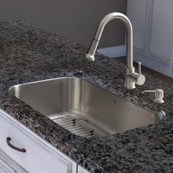 Vigo VG15279 Single Basin Undermount Kitchen Sink Combo - Put a little gleam into your granite with the Vigo VG15279 Single Basin Undermount Kitchen Sink Combo. Crafted with durable stainless steel, this all-in-one set includes a fully undercoated single-basin undermount sink with multi-layer sound-eliminating padding that prevents potentially damaging condensation, too. The high-clearance retractable faucet boasts a single lever-style handle and spray face that resists mineral buildup. An interior grid, coordinating soap dispenser, and drip-free ceramic disc cartridge complete the package. Every piece is guaranteed to not rust. Includes a limited lifetime manufacturer's warranty; for full warranty information, visit vigoindustries.com/pages/warranty.About Vigo Industries LLCFounded just over a decade ago in Rahway, N.J., Vigo Industries has established a reputation for offering attractive, affordable, innovative, and durable kitchen and bath products. From faucets and sinks to shower enclosures and bathroom vanities, Vigo's products are designed with state-of-the-art engineering that combines efficiency and elegance. Vigo's engineering and design teams always look ahead to fulfill the ever-evolving needs and tastes of consumers, bringing them the latest styles and trends without compromising quality.