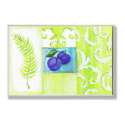 Stupell Industries - Purple Plums and Green Fern Kitchen Wall Plaque - Made in USA. Ready for Hanging. Hand Finished and Original Artwork. No Assembly Required. 10 in L x 0.5 in W x 10 in H (2 lbs.)What better way to add class to your home than with a wall plaque from the Stupell Home Decor Collection? Made in the USA and featuring original artwork,you are sure to find the perfect match for wherever you are looking to design. Each plaque comes mounted on sturdy half inch thick mdf and features hand painted edges.  It also comes with a sawtooth hanger on the back for instant use.