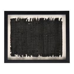 "Zentique - Zentique Abstract Paper Small Framed Art - Abstract style takes center stage on this small Zentique wall art. In a sleek wood frame, this modern piece's textured black paper design captivates against natural linen. 19.625""W x 1.75""D x 15.75""H; Black wood frame; Hangs with triangle metal hooks and wire (not included)"