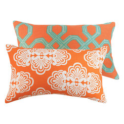 """Mango Tango 12x20"""" Pillow l Chloe and Olive - With luxurious textures and a palette of juicy colors, fashion icon Lilly Pulitzer brings us an upscale collection of fabrics for the home decor. Two vibrant coordinating and complementing Lilly Pulitzer fabrics in one pillow."""