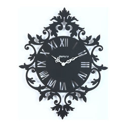 Maple's Clock - Black Silhouette Metal Wall Clock - - All metal  - Roman numerals  - Rococo style themed silhouette  - Battery - 1AA (Not Included) Maple's Clock - MW3166
