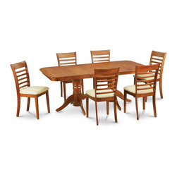 """East West Furniture - 7Pc Dining Set with Napoleon Table and 6 Milan Padded Seat Chairs - 7Pc Dining Set with Napoleon Table Featured 17"""" Butterfly Leaf and 6 Milan Padded Seat Chairs; Napoleon dining sets feature gorgeous Asian solid wood with a glossy saddle brown color.; This dinette set is available with upholstered seating to provided added comfort and support.; Chairs feature an """"S"""" curve for back comfort with a sophisticated circle inset.; Chairs are elegantly designed with cylindrical-lathed front legs for a classical look.; Table & chairs have smooth, rounded corners to match any stylish kitchen.; Table features a double pedestal with an available butterfly leaf.; Weight: 219 lbs; Dimensions: Table: 59 - 76""""L x 40""""W x 30""""H; Chair: 18""""L x 17.5""""W x 38""""H"""
