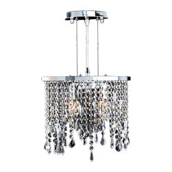 """Worldwide Lighting - Fiona 2 Light Chrome Finish and Clear Crystal Pendant Light 14"""" Oval Mini Small - This stunning 2-light Crystal Pendant only uses the best quality material and workmanship ensuring a beautiful heirloom quality piece. Featuring a radiant chrome finish and finely cut premium grade clear crystals with a lead content of 30%, this elegant pendant light will give any room sparkle and glamour. Worldwide Lighting Corporation is a privately owned manufacturer of high quality crystal chandeliers, pendants, surface mounts, sconces and custom decorative lighting products for the residential, hospitality and commercial building markets. Our high quality crystals meet all standards of perfection, possessing lead oxide of 30% that is above industry standards and can be seen in prestigious homes, hotels, restaurants, casinos, and churches across the country. Our mission is to enhance your lighting needs with exceptional quality fixtures at a reasonable price."""