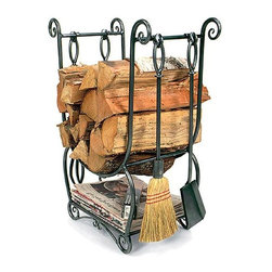 Achla - Wrought Iron Wood Holder - Keep your fireplace accoutrements well organized with this attractive wood holder and tool set.  While its upper compartment ably holds chopped wood, its lower shelf is perfect for kindling storage.  Comes with four handy fireplace tools. * Wrought iron constructionGraphite Powdercoat. Lower shelf for kindling storageIncludes four fireplace tools23 in. W x 11.5 in. D x 30 in. H