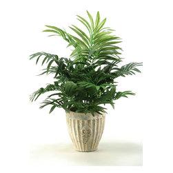 D&W Silks - D&W Silks Parlor Palm In Ceramic Planter - Silk Parlor Palm