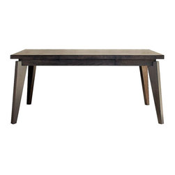 Angled-Leg Expandable Table - This expandable table has some great angles on the legs. I like the chunky look here a lot! It could go with anything. The black/brown finish could go with practically any color scheme.