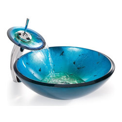 Kraus - Irruption Blue Glass Vessel Sink & Waterfall - Finish: ChromeThis round glass vessel sink is a fusion of elegance and modern. Stylish sink features a unique handcrafted design. Elegant and exquisite sink will turn any bathroom into a stylish masterpiece. Glass sink is constructed from solid tempered glass. This unique glass vessel sink features striking shades of metallic blues along with a few specs of black for a design that will accentuate any bath decor.. Sink features smooth interior with a vibrant color pattern. Designed for above counter installation with standard US plumbing connections. Solid brass umbrella pop-up drain and mounting ring are included. Diameter: 16.5 inches. Height: 5.5 inches. Glass thickness: 0.5 inch (12 mm). Mounting ring adds 0.5 inch. 1.75-inch standard drain opening. Limited Lifetime Warranty. Certified and Listed by UPC, cUPC, CSA, IAPMO, ANSI and SCC. The handcrafted nature of this product will produce minor differences in design and sizing. Subtle variations will occur from piece to piece, adding to its unique qualities. Measurements may vary slightly.. Shipping: Leaves our warehouse in 1-3 business daysInstruction Manual