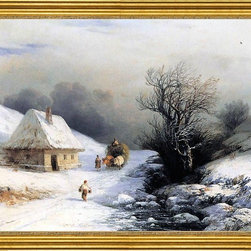 """Ivan Constantinovich Aivazovsky-16""""x20"""" Framed Canvas - 16"""" x 20"""" Ivan Constantinovich Aivazovsky Little Russian Ox Cart in Winter framed premium canvas print reproduced to meet museum quality standards. Our museum quality canvas prints are produced using high-precision print technology for a more accurate reproduction printed on high quality canvas with fade-resistant, archival inks. Our progressive business model allows us to offer works of art to you at the best wholesale pricing, significantly less than art gallery prices, affordable to all. This artwork is hand stretched onto wooden stretcher bars, then mounted into our 3"""" wide gold finish frame with black panel by one of our expert framers. Our framed canvas print comes with hardware, ready to hang on your wall.  We present a comprehensive collection of exceptional canvas art reproductions by Ivan Constantinovich Aivazovsky."""