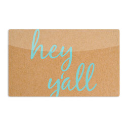 "Kess InHouse - KESS Original ""Hey Y'all"" Brown Blue Aluminum Magnet - Decorate your fridge, locker or cubicle at work with small aesthetic pops of color. Made of a durable aluminum, these premium magnets are hand pressed and measure 3"" x 2"". Great for holding up to do lists, photos or coupons, these small pieces of art can make your fridge your own personal gallery."