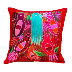 Guatemalan Artisans - Guatemalan Red Parrot Pillow - Bask in a vibrant palette shaped by sun-drenched surroundings and an artful incorporation of Guatemala's celebrated crafts and handiwork.