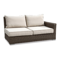 Thos. Baker - Wicker Outdoor Sectional Loveseat | Hampton Collection - Oversized seating in all-weather wicker with a slightly weathered look inspired by classic whitewashed country home styles. Premium, dyed-through resin wicker with an extra large diameter profile and elegant ocean gray finish. Powder-coated aluminum subframe and brushed aluminum feet.Plush Sunbrella cushion sets included where applicable. Choose quick ship in khaki with cocoa piping, stone green or choose from our made-to-order fabric options.Made-to-order cushion sales are final and ship in 2-3 weeks.