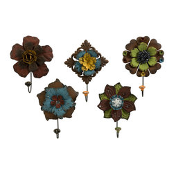iMax - Caldwell Floral Wall Hooks, Set of 5 - Mult-colored metal flowers adorned with rhinestones are a decorative set of wall hooks that add color to any functional space.