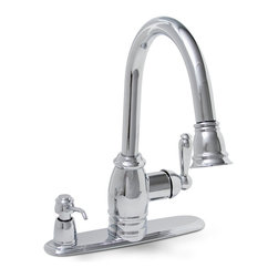Premier Faucet - Premier Sonoma Pull-Down Spray Kitchen Faucet with Soap Dispenser in Chrome LF - Select the modern flexibility of the Premier Sonoma pull-down kitchen faucet with a striking hi-arc spout. Simply rotate the spray head to adjust from a steady flow to a high-performance spray. The Sonoma pull-down kitchen faucet contains a versatile 24-Inch hose extension for complete sink coverage; cleaning, rinsing, and filling pots has never been easier. The Sonoma pull-down kitchen faucet includes a matching soap dispenser and extra deck plates for three-hole (dispenser on-deck) or four-hole sink applications. This model features a heavy-duty chrome-plated finish, a trouble-free ceramic disc cartridge, and lead-free brass construction for durability and strength. Its metal lever handle enables precise volume and temperature control. This faucet provides a flow rate of 2.2 gallons per minute. It complies with the requirements of the Uniform Plumbing Code and the Americans with Disabilities Act. This Premier faucet is also listed with the International Association of Plumbing Officials, the Uniform Plumbing Code, the Canadian Standards Association, and the National Sanitation Foundation. It includes Premier's Limited Lifetime Warranty. This faucet meets the strict lead-free requirements of California and Vermont.