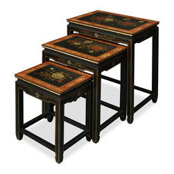 "China Furniture and Arts - Tibetan Design Nesting Tables - This exquisite set of wooden nested tables can be used individually or to the delight of your own artistic arrangement. Over the black lacquer matte surface each table is magnificently hand painted with exotic Tibetan floral art. Highly functional and stylish. Fully assembled. Table dimensions: 18""x13""x24"", 15""x11.5""x20"", 12""x10""x16""."