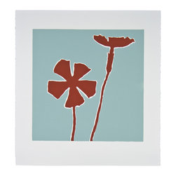 Brick Red Wildflower - Original Linocut Print - This flower series - original artwork created by a husband and wife team - is a study of form and color. The piece is simple and yet will create a very strong presence due to the color choice.