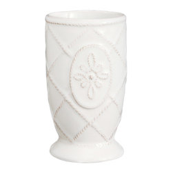 Jardins Du Monde Bath Tumbler - Whitewash - A formal, dainty addition to your bathroom crockery, this stately stoneware vessel is perfect for giving makeup brushes and small scented luxuries a beautiful, well-coordinated place to rest. The ceramic Jardins du Monde Bath Tumbler, a tapered urn shape with a modest foot, is textured with a fine lattice and a central floral cartouche, then glazed in a neutral Whitewash hue.