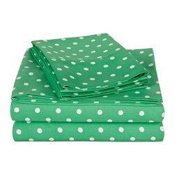 600 Thread Count Twin Sheet Set Cotton Rich Polka Dot - Sage - 600 Twin Sheet Set Cotton Rich Polka Dot - Sage