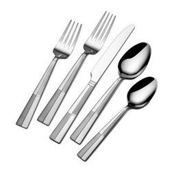 Lifetime Brands - International Home Arabesque Frost 20-Piece Flatware Set - This International Home 20-Piece Arabesque Flatware Set is constructed of superior quality 18/0 stainless steel and will stand up to the rigors of everyday use. Inspired by symmetry and geometrics this stunning flatware features four frosted rectangles on the handle and will bring a modern look and feel to your table setting.