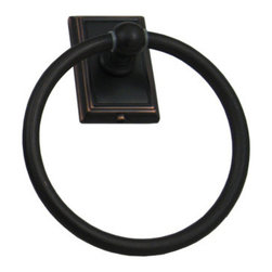 """Stone Harbor Hardware - Westwood Towel Ring, Vintage Bronze - The Westwood towel ring features elegant, crisp lines and beautiful finishes that coordinate with transitional styles. The ring measures 6-5/16"""" in diameter, and the decorative backplate measures 2-5/16"""" wide by 3-1/2"""" tall. Includes mounting hardware."""