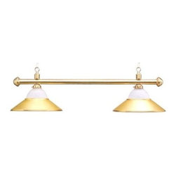 Sterling Gaming - Deluxe Sterling Solid Brass & Frosted Glass P - Light fixture. Designer brass pool table lamp. Two 15 in. shades. Frosted ribbed glass tops and brass bottoms. Overall: 43.50 in.. Weight: 14 lbs.