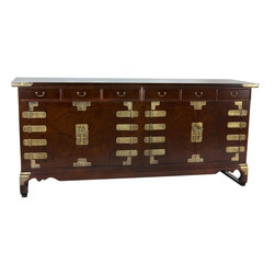 Oriental Furniture - Korean Antique Style 8 Drawer Double Cabinet Credenza - Heirloom quality Asian antique style buffet chest, server, sideboard, or credenza handcrafted in a traditional Korean / Japanese double cabinet design. Provides lots of usable storage with four doors and eight drawers. A striking, beautifully appointed configuration with etched brass oriental hasps and hinges on a richly grained dark stain hand rubbed Elmwood finish.
