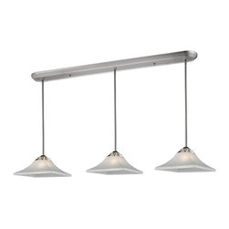 Z-Lite - Z-Lite 319-3B 3 Light Billiard LightPershing Collection - The clean white watermark glass and crystal accents will make this billiard light stand out in any room.