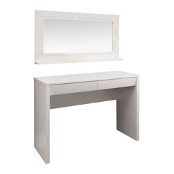 NolteD Germany - Starlight Dressing Table, Desk and Mirror - Starlight dressing table with 2 drawers in white lacquer, wall mirror with one shelf and 1 row of Swarovski crystals